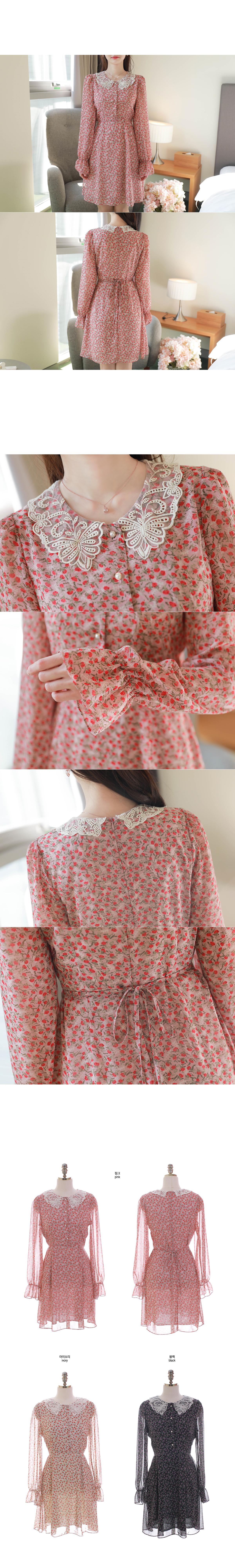 Váy Xoè Hoạ Tiết Cổ Ren - VL6393